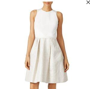 Theia Ivory Sleeveless Dot Jacquard Cutout Dress